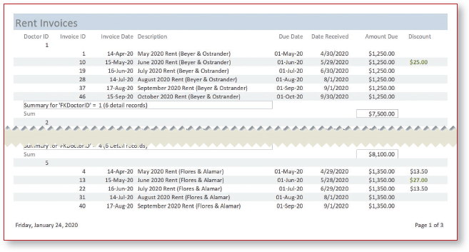 Print Preview of report excerpt displays header, records grouped by DoctorID, and date and page number in footer.