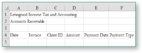 Row 4 data is Date, Invoice, Client ID, Amount, Payment Date, and Payment Type